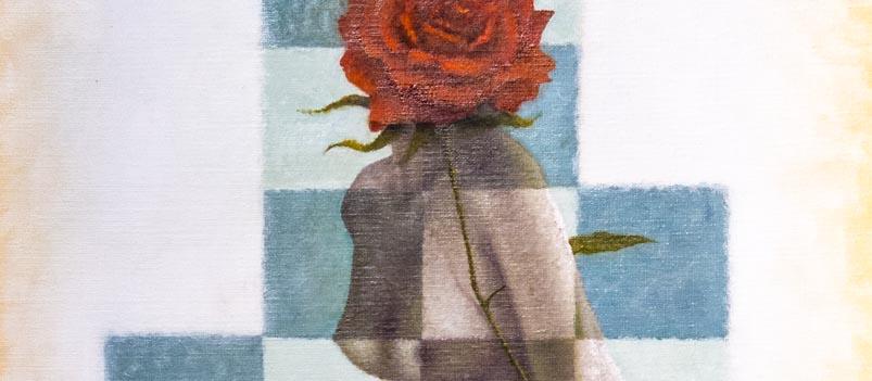 Schilderij van Theo Leering 'Dame met roos'